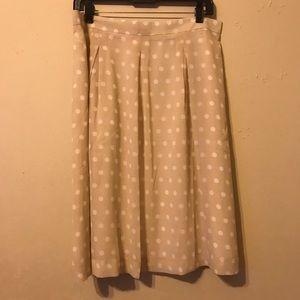 NWT Ann Taylor Beige Polka Dot Midi Skirt